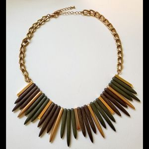 Edgy Gold Tone and Wooden Statement Necklace!
